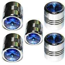 5 Chrome Blue Gem Tire Air Valve Stem Caps Car Truck Hotrod ATV w/ Spare Wheel