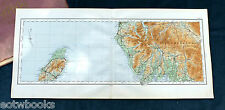Vintage cloth O.S. MAP of NORTH-WEST ENGLAND & ISLE OF MAN - 1922, for framing