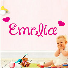 Custom Kids Names Home Decor Art Decal Love Hearts Cute Wall Sticker For Girls