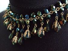 Collar de Abalorios de Vidrio Vintage irridescent Verde, Estilo de flecos, Metal Filigrana dorado