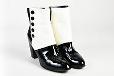 Chanel Black Cream Leather Snap Closure 'CC' Ankle Boots SZ 42