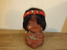 """3"""" vinyl crying native american indian doll vintage"""