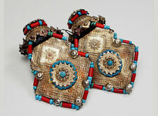 Antique muchley SILVER EARRING Katawaz AFGHANISTAN PAKISTAN Orecchini antico no-2