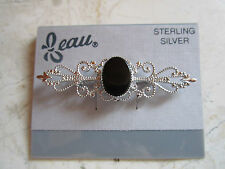 NEW ON CARD GENUINE STERLING SILVER  AND ONYX FILIGREE PIN  BROOCH FROM  BEAU