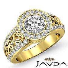 Gorgeous Round Diamond Engagement Halo Ring GIA F VS1 18k Yellow Gold 2.25ct