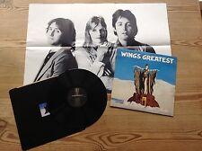WINGS WINGS GREATEST 1978 VINYL LP 1978 MPL VINYL LP PLUS INNER SLV + POSTER NM