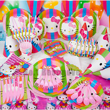 New Set Hello Kitty Birthday Party Supply Decoration Tableware Ballons Gift