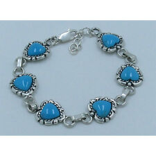 .925 Sterling Silver Natural Blue Kingman Turquoise Heart Linked Bracelet