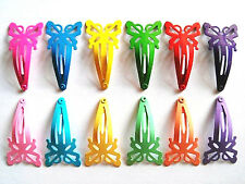 24 Cute Butterfly Hair snap clip for toddler baby girl 40 mm Mix bright & pastel