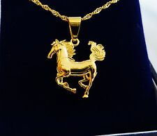 Gold Filled Plated Horse Pony Chain Pendant and Necklace Equestrian Jewellery