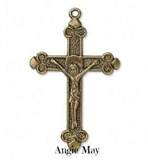 Wholesale Lot 20 Antiqued Brass Crucifix Cross Pendants