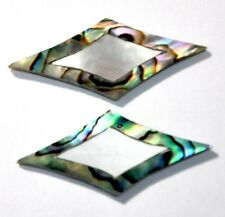 DIM1# 2 Curved Diamond Inlay In Abalone Outside w White Mother of Pearl Center