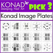 PICK 3 Konad Image Plate of Your Choice - for Stamping Nail art Designs