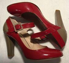 MAURO LEONE Gr. 40 Lack Leder Spangen Pumps �� rot taupe edel elegant runde Form