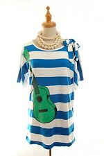 French Designer JC de Castelbajac JC DC Guitar pattern Stripe Cotton Tee M