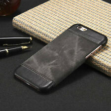 Luxury Genuine PU Leather Hard Back Case Cover For Apple iPhone & Samsung Galaxy