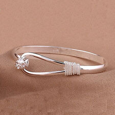 Women Flower Pattern Silver Clip-on Button Cuff Bracelet Bangle Jewelry Gift