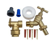 20mm MDPE Outside Tap Kit With Double Check Valve and Brass Wall Plate Elbow