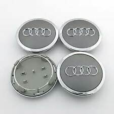AUDI SILVER ALLOY WHEEL CENTRE CAPS 68MM FITS: A1 A2 A3 A4 A5 A6 TT RS Q3 Q7