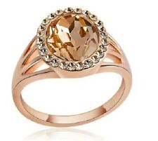 18K ROSE GOLD PLATED CZ CHAMPAGNE CRYSTAL OVAL CUT RING. SIZE M, N, O, Q1/2