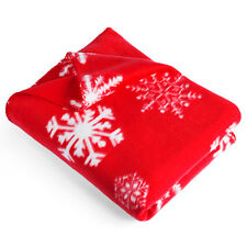 Snowflake Christmas Xmas Design Snow Red White Fleece Blanket Throw Wrap Gift
