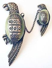 Vtg Mexico Sterling 2 PARROT Bird Brooch~Cheep-Cheap!~BOOK PIECE~Chatelaine Pins