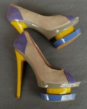 Glanmarco Lorenzi Couture Peeptoe Suede Leather Stilettos Size 6
