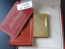 Beautiful S T Dupont Line 1 Gold Plated Lighter  - Boxed with Papers - Excellent