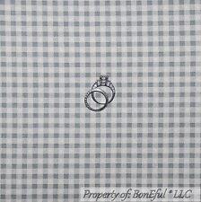 BonEful Fabric FQ Cotton Quilt VTG Gray White Gingham Check Small S Block Square