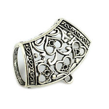 12 Pieces/lot Retro Silver Heart Style Jewelry Scarf Pendant Slides Tube Bails