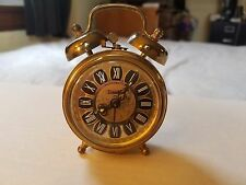 Vintage Brass Trenkle West Germany Double Bell Alarm Clock Works Rare