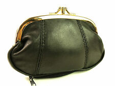 LADIES QUALITY SUPER SOFT BLACK GENUINE LEATHER CLIP COIN PURSE POUCH WALLET