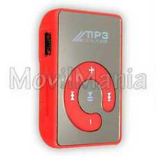 Lector Reproductor Mp3 Player Mini Clip Micro Usb SD Hasta 32 GB Musica Rojo