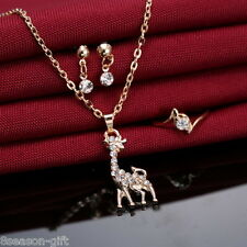 GIFT 1Set New Fashion Gold Plated Rhinestone Deer Pendant Errings Necklace Rings