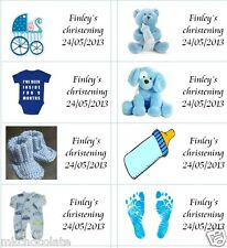 40 x Personalised Baby Christening blue/boy /labels/stickers party/cake bags
