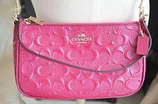 Authentic Coach Fuschia Patent Leather Monogram Crossbody/ Pochette Bag
