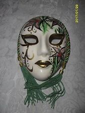 """Decorative Porcelain Wall Hanging Mask Fancy Green and Gold 6"""" x 4.5"""" *GORGEOUS*"""