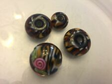 Us Lampwork Leopard Animal Print Mix Orphan Misfit Glass Bead Lot