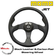 MOMO JET - 350MM BLACK LEATHER & CARBON FIBRE PAD STEERING WHEEL