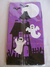 Halloween Set 6 Paper Treat Lunch Bags Ghost Bats Food Safe Sack Purple Black