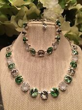 Swarovski crystal elements Necklace Bracelet Greens And White Set