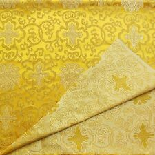 0.5Yard Faux Silk Chinese Brocade Fabric(Antique Gold w Pale Gold Wealthy)2004