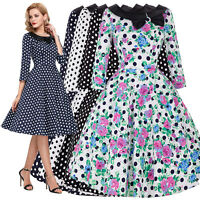 Womens Vintage 50s 60s Dress Housewife Retro Pinup Swing Prom Party Evening PROM