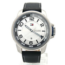 NWT TOMMY HILFIGER Mens Watch Black Leather Sport FISHER Gray W/Box 1790714