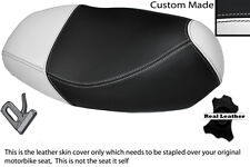 WHITE & BLACK CUSTOM MADE FITS SYM MASK 50 LEATHER DUAL SEAT COVER
