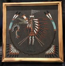 """Navajo Sand Art Painting 'YEI' Signed by Artist 13.75"""" x 13.75"""" NICE WOOD FRAME"""