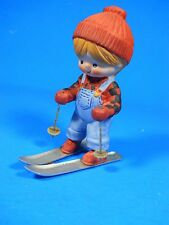 "Enesco COUNTRY COUSINS GIRL SKIER Katie Katy 4"" porcelain Figurine metal skis"