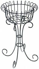 """Plant Stand Metal Antique French Indoor Outdoor Scroll Top 30"""" Steel Patio Decor"""