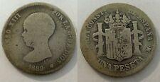 1 peseta. Alfonso XIII. Año 1889. Plata. FECHA RARA. Peso actual 4,52 gr.