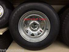 """15"""" 5 Lug GALV SPK Trailer Rim LoadStar Radial Tire Wheel Assem 205/75R15 C ply"""